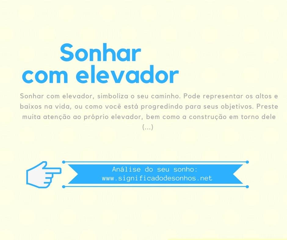 significado sonhar com elevador