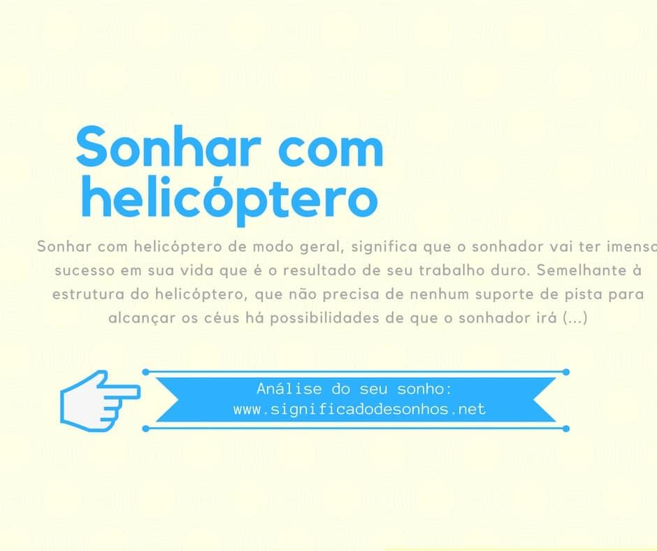 significado sonhar com helicóptero