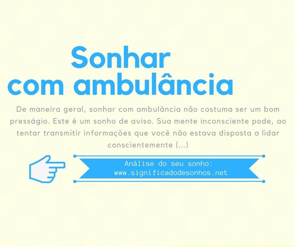significado sonhar com ambulância
